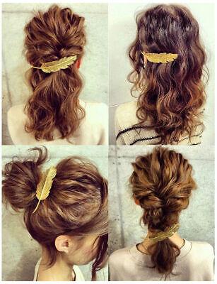 Moda Mujer Oro Pluma Pinza de pelo Horquilla Pasador Accesorios para el Cabello segunda mano  Embacar hacia Argentina