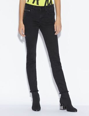New AX Armani Exchange Womens FIVE-POCKET SUPER SKINNY JEANS WITH UNFINISHED HEM Armani Five Pocket Jeans