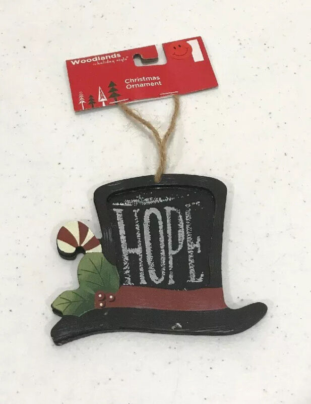 "Christmas Hope Top Hat Ornament Woodlands Holiday Style Approximately 4"" Wood"
