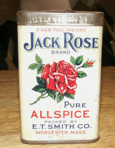 Graphic!  Jack Rose Allspice Tin Litho Spice Tin Worchester Massachusetts MA
