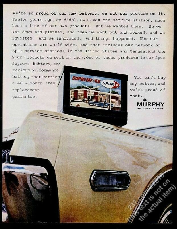 1968 Murphy Oil Spur gas station photo vintage print ad