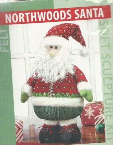 "NORTHWOODS SANTA--Christmas--16"" Tall Stuffed Santa--Soft Sculpture Felt Kit"