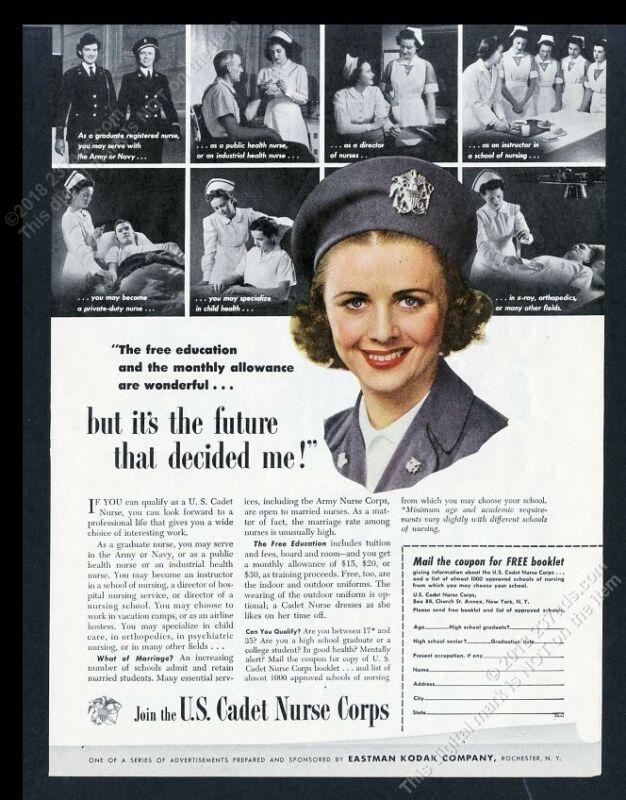 1944 US Cadet Nurse Corps recruitment 8 photo vintage print ad