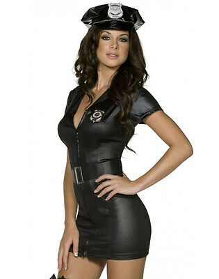 Womens Sexy Police Officer Costume Leather Wet Look Black Fancy Dress Adult COP - Black Leather Costumes