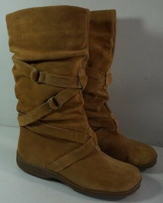 (Canyon Blues Suede Leather Slouch Strappy Boots Sz 10 Tiffany)