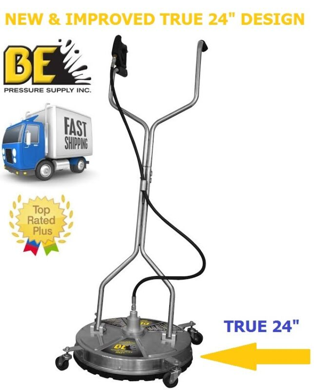 """BE Pressure 24"""" in Whirl-a-Way Stainless Steel Pressure Washer Surface Cleaner"""