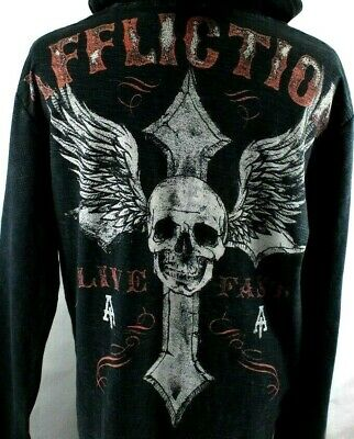 Affliction Mens American Customs Long Sleeve Hooded 2 Sided Graphics Henley XL