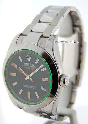 Rolex Mens NEW Milgauss Stainless Steel Watch Green Crystal Box/Papers 116400