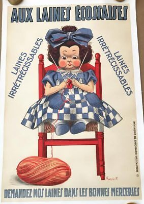 Aux Laines Ecossaises Original French 1922 Advertising Poster by Hunsic -
