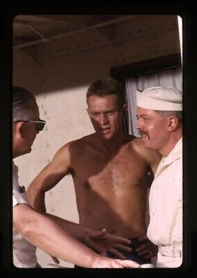 Steve McQueen barechested Richard Attenborough Robert Wise Original Transparency