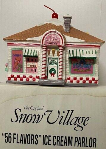 Dept 56 Snow Village 56 Flavors Ice Cream Parlor w/box, sleeve, and light
