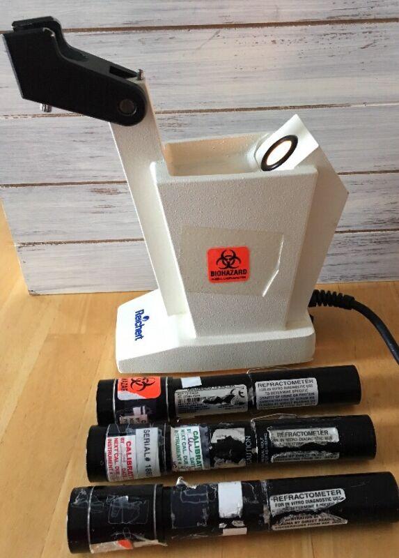 American Optics Reichert 10406 Refractometer Table Stand & 3 Refractometers