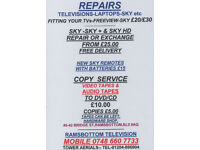 TELEVISION -SKY BOX -REPAIRS AND COPYING TO DVD