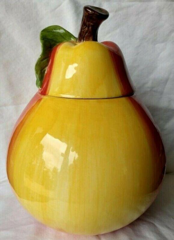 "11"" Ceramic Yellow Orange Pear Fruit Food Shaped Cookie Jar Chipped (China)"