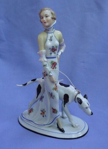 """GREYHOUND LURCHER dog art deco lady Germany 8"""""""