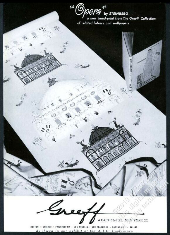 1953 Saul Steinberg Opera design photo Greeff wallpaper vintage print ad