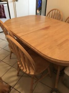 Large oak table with 4 chairs