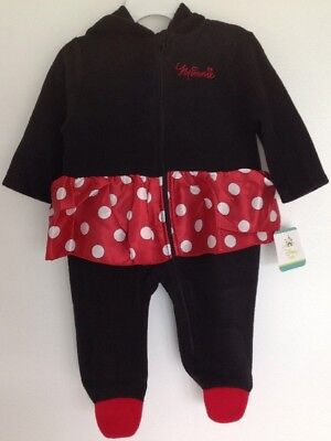 Disney Baby Minnie Mouse Infant Girls Pram Bunting Coat Fleece Hooded Jacket NWT