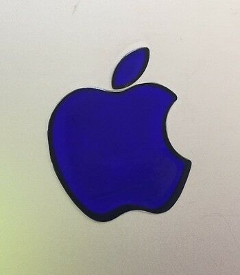 GLOWING BLUE APPLE MacBook Pro Air Mac Sticker Logo Laptop D