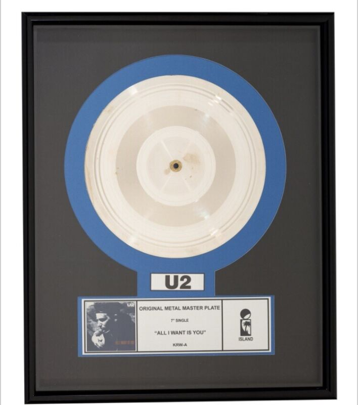 """U2 """"All I Want Is You"""" Original Silver Metal Master Plate Framed - One Of A Kind"""