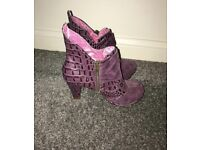 'Irregular Choice' purple ankle boots - size 3