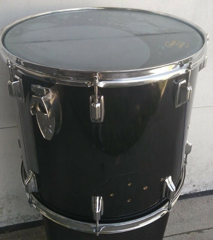"16""x18"" Big R Rogers Xp8 Floor Tom Drum Black Wrap Memriloc Mount"