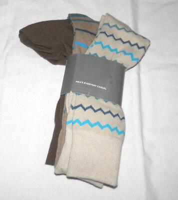 NEW COVINGTON MENS EVERYDAY CASUAL SOCKS 3 PAIR PKG BEIGE,TAN,BRN SHOE SIZE (Covington Mens Socks)