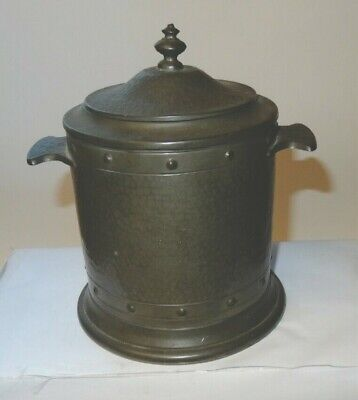 Arts and craft style, planished pewter, biscuit barrel marked, Talbot pewter.