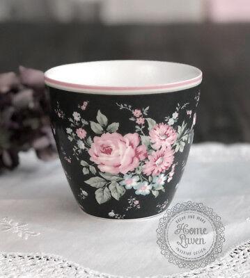 B-Ware Greengate Latte Cup Becher Tasse Marley dark grey Vintage Landhaus Shabby Green Cup