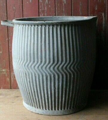 Original Vintage Rustic Galvanised Dolly Tub Wash Tub Garden Planter