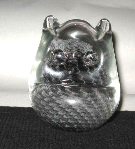 FM RONNEBY GENUINE ART CRYSTAL GLASS OWL PAPERWEIGHT LINE STUDIO SWEDEN