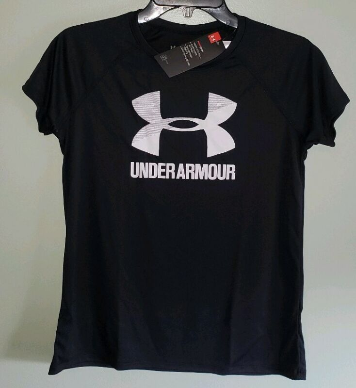 NEW Under Armour Girls Youth S / M / XL Short Sleeve Logo Tee BLACK WHITE #42819