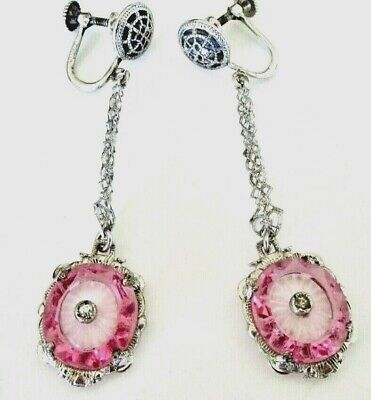 1920s Art Deco Jewelry: Earrings, Necklaces, Brooch, Bracelets Early Art Deco Sterling Filigree & Pink Carved Crystal Vintage Antique Earrings $89.00 AT vintagedancer.com