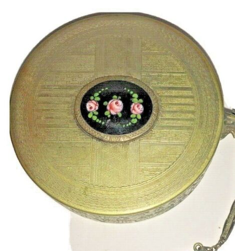 Antique Silvered And Enamel Compact