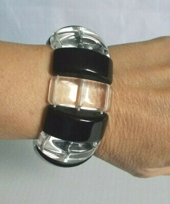 Chunky Stylish Fashion Black & Clear Plastic Stretch Bracelet