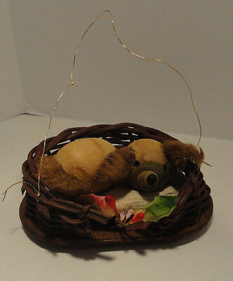 Vintage Dog In Basket Christmas Ornament