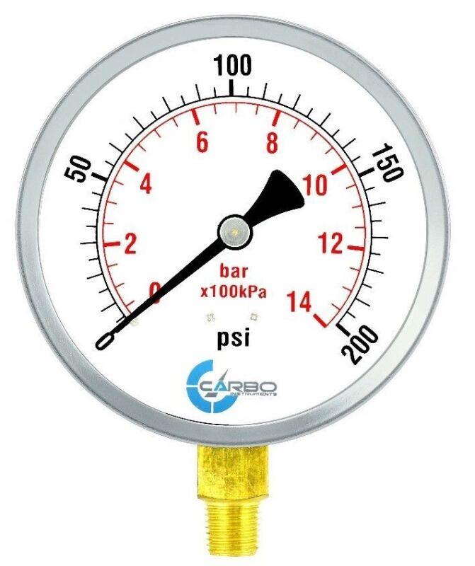 "4"" Pressure Gauge - Chrome Plated Steel Case, 1/4""NPT, Lower Side Mnt. 200 PSI"