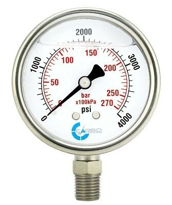 2-12 Pressure Gauge Stainless Steel Case Liquid Filled Lower Mnt 4000 Psi