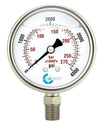 2.5 Liquid Filled Pressure Gauge 0 - 4000 Psi Stainless Steel Case Lower Mount