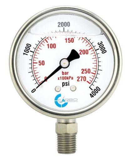 "2-1/2"" Pressure Gauge, Stainless Steel Case, Liquid Filled, Lower Mnt 4000 PSI"
