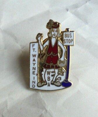 Vintage Ft Wayne IN WBA Women Bowling Bus Stop Bowler Award Lapel Pin Pinback