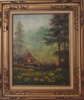 Cabin in the Woods Original Oil Painting Framed Canvas Antique Signed Alma Ward - Painting Cabin In The Woods