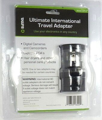 Sima International Plug - SIP-3 SIMA International Compact Travel Power Plug Adapter Set for Europe,China