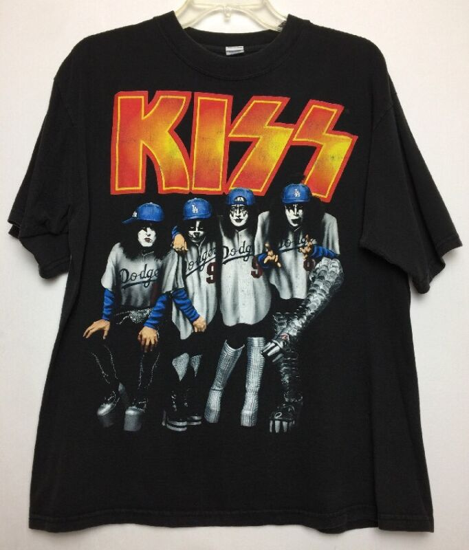Original 1998 KISS Psycho Circus Concert T-Shirt LRG LA Dodgers Baseball Uniform