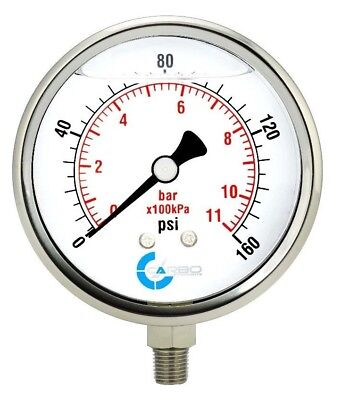 4 Pressure Gauge Stainless Steel Case Liquid Filled Lower Mnt 160 Psi