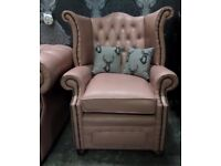 Stunning Rare Chesterfield Queen Anne Wing Back Chair in Pink Leather - UK Delivery