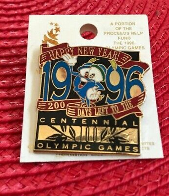 "Vintage Collectible And Unique ""Happy New Year 1996 Olympic Games"" Disney Pin!"