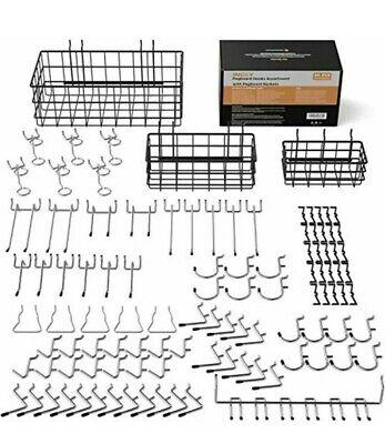80 Pcs Peg Board Hooks Set With 3 Pegboard Baskets Sml Workshop Sturdy