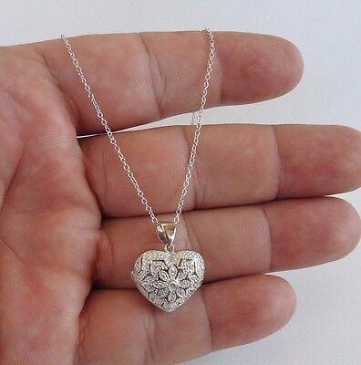925 STERLING SILVER HEART LOCKET NECKLACE PENDANT W/ .65 CT LAB DIAMONDS/ 18'' Diamond Heart Locket Necklace