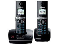 ***RRP £120*** Brand new Panasonic Black Premium Twin Cordless Home Phones with answering machine